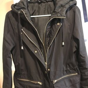 Hooded double shell black jacket